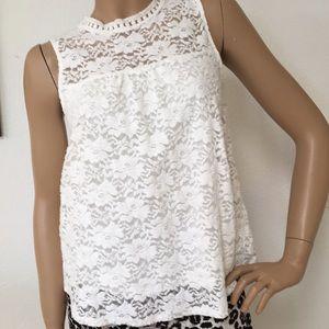 Stitchfix West Kei White Lace Cotton Top Blouse S
